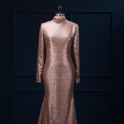 Metallic Champagne Sequin Long Slee..