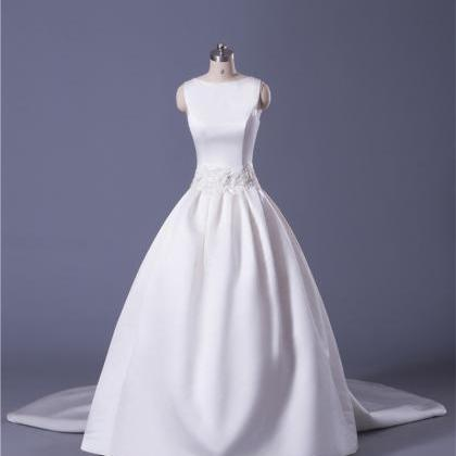 Soft Satin Ball Gown Wedding Dress ..