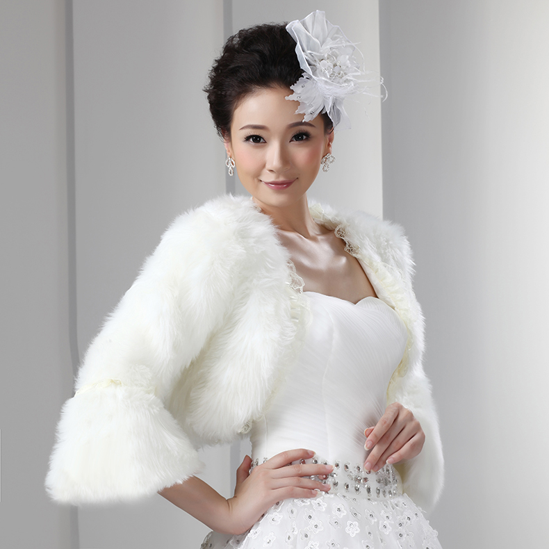 White artificial fur short bolero with long sleeves bridal for Dress jackets for wedding