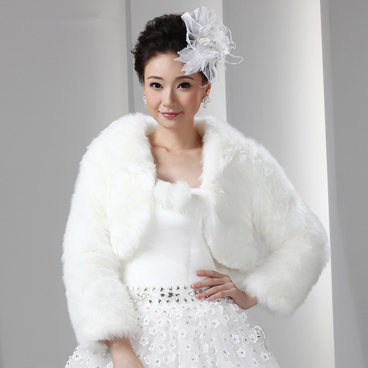 Short White Artificial Fur Bolero With Long Sleeves Women Faux Fur ...