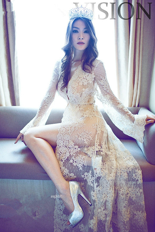 beige color floor length sheer lace sexy robe with long sleeves