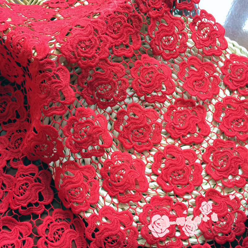 Flower Pattern Guipure Lace Red Cord Lace Fabric Use For Women Clothing 47/48 Inch Width Sold At Yard