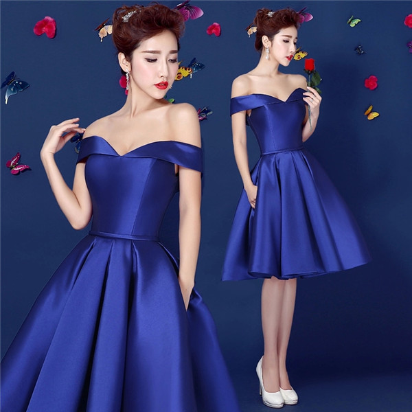 Royal Blue Satin Short Prom Dress Off Shoulder Laced-up Closure Teens Homecoming Dress Semi Formal Dress Custom Made