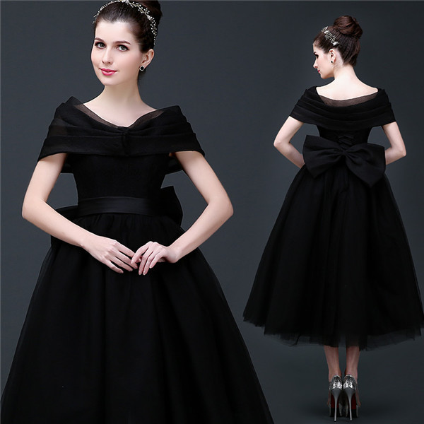 Tea Length Black Prom Dress With Big Bow Cap Sleeves Laced-up Closure Elegant Women Formal Ball Gown Cocktail Dress Custom Made