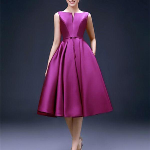 Fuchsia Satin Short Prom Dress Cleavage Neckline Lace-up Closure Elegant Women Evening Gown Cocktail Party Dress Custom Made