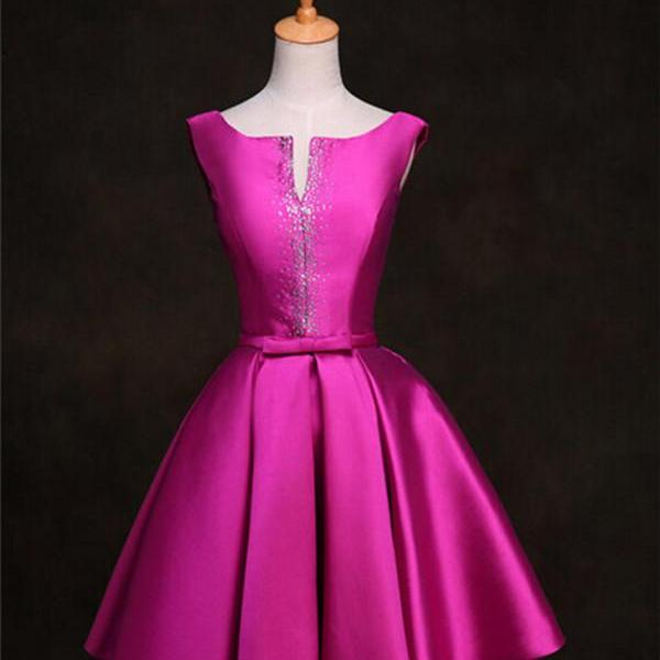 Short Satin Dress For Homecoming Prom Sleeveless Beaded Women Cocktail Party Dress In Fuchsia Champagne Royal Blue Custom Made