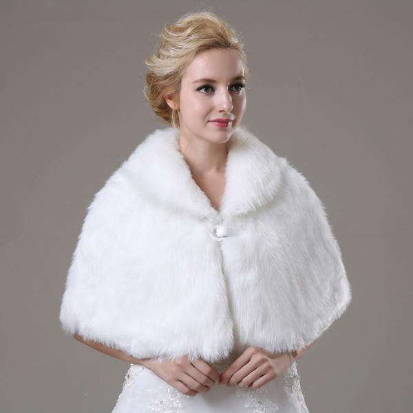 White Artificial Fur Wrap Bridal Faux Cape For Wedding Women Winter Coat On Luulla