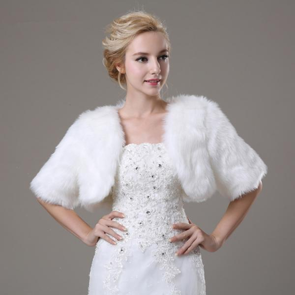 White Artificial Fur Bolero With Short Sleeves Bridal Faux Fur