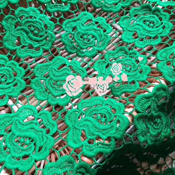 Solid Color Flower Pattern Guipure Lace Green Cord Lace Fabric 47/48 Inch Width Sold At Yard