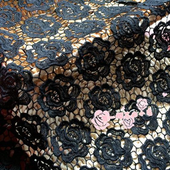 New Flower Pattern Guipure Lace Black Cord Lace Fabric 47/48 Inch Width Sold At Yard